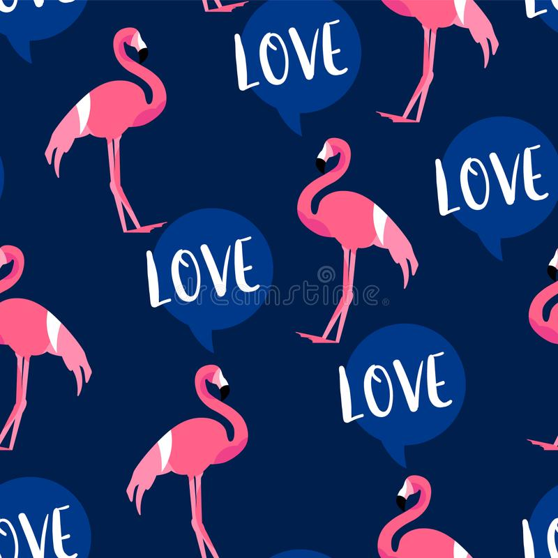 Summer pattern with cute flamingo and text cloud on dark background. Ornament for textile and wrapping. Vector.  royalty free illustration