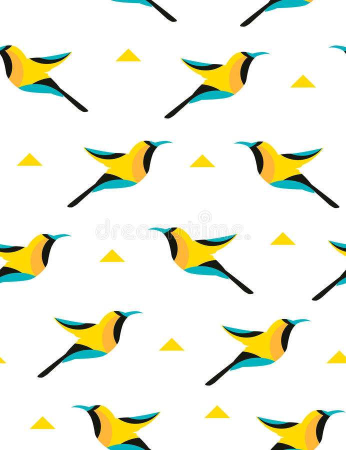 Summer pattern with geometric bird and triangles on white background. Vector vector illustration