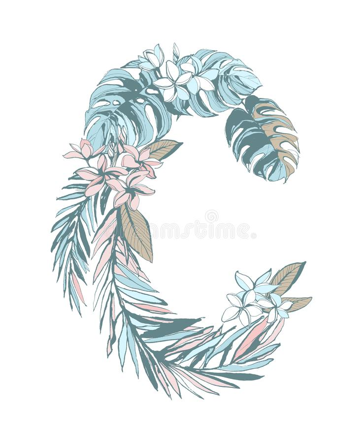 Summer pattern hand drawn letter C palm leaves, flowers, birds. Floral summer pattern hand drawn ornamental letter C with palm monstera beach leaves, flowers vector illustration
