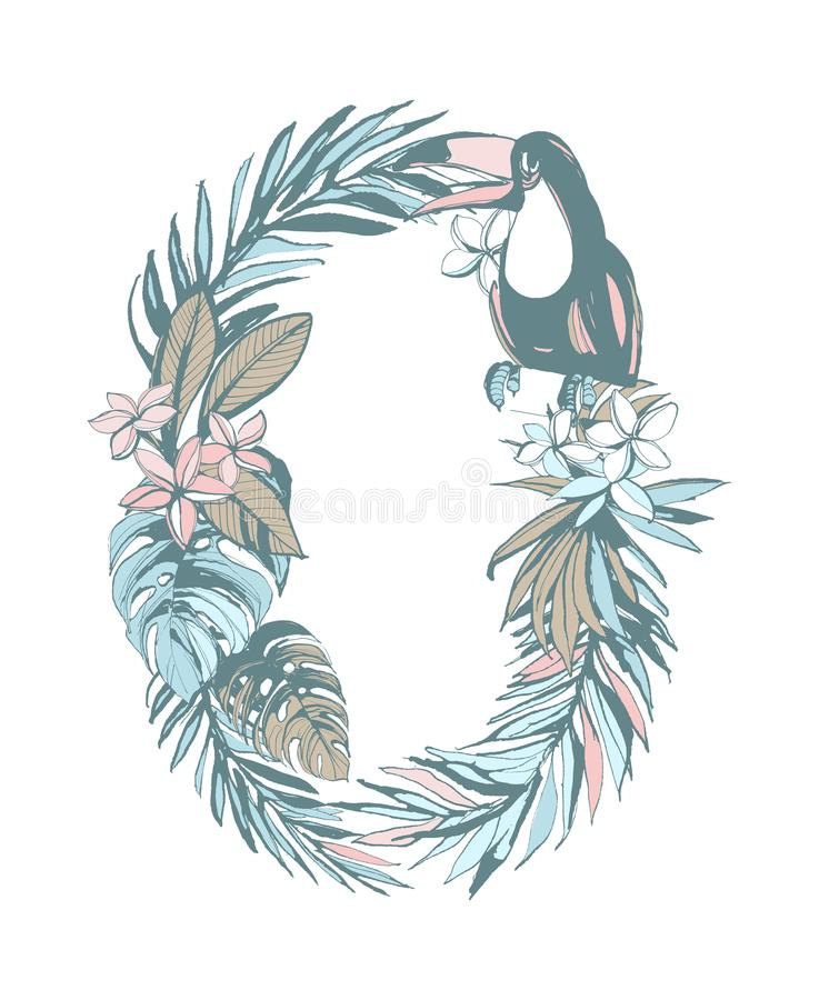Summer pattern hand drawn letter O palm leaves, flowers, birds. Floral summer pattern hand drawn ornamental letter O with palm beach leaves, flowers, toucan royalty free illustration
