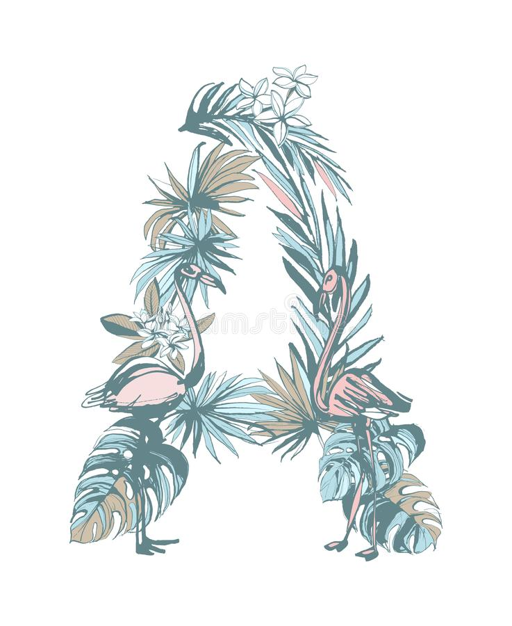 Summer pattern hand drawn letter A palm leaves, flowers, birds. Floral summer pattern hand drawn ornamental letter A with palm beach leaves, flowers, flamingo royalty free illustration