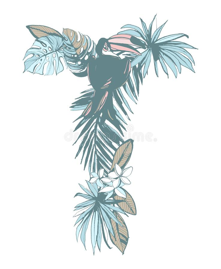 Summer pattern hand drawn letter T palm leaves, flowers, birds. Floral summer pattern hand drawn ornamental letter T with palm beach leaves, flowers, toucan stock illustration
