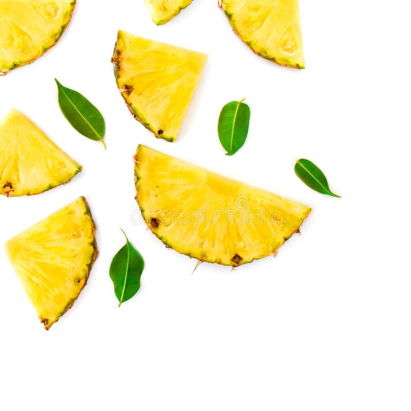 Summer Pattern with Slices of Pineapple . Exotic fruit Pineapple chunks  on white background. Flat lay. Summertime concept stock photos