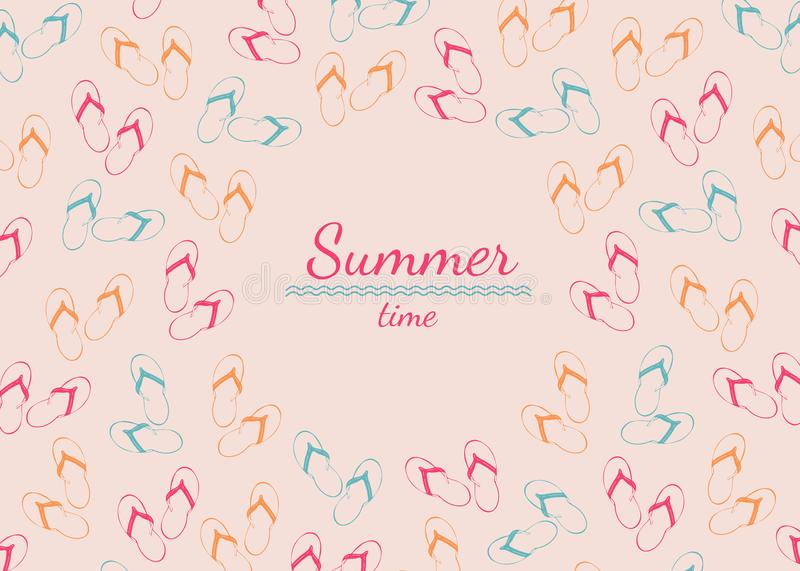 Frame with place for text from summer slap on pink background vector illustration