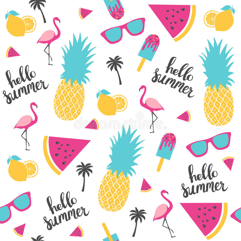 Free Summer Pattern. Watermelon, Pineapple. Royalty Free Stock Images - 93212269