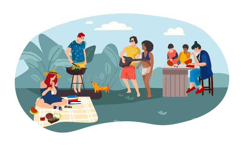 Summer people BBQ Cartoon parents and children spending time together picnic party. Vector summer activities background. Summer people BBQ. Cartoon parents and vector illustration