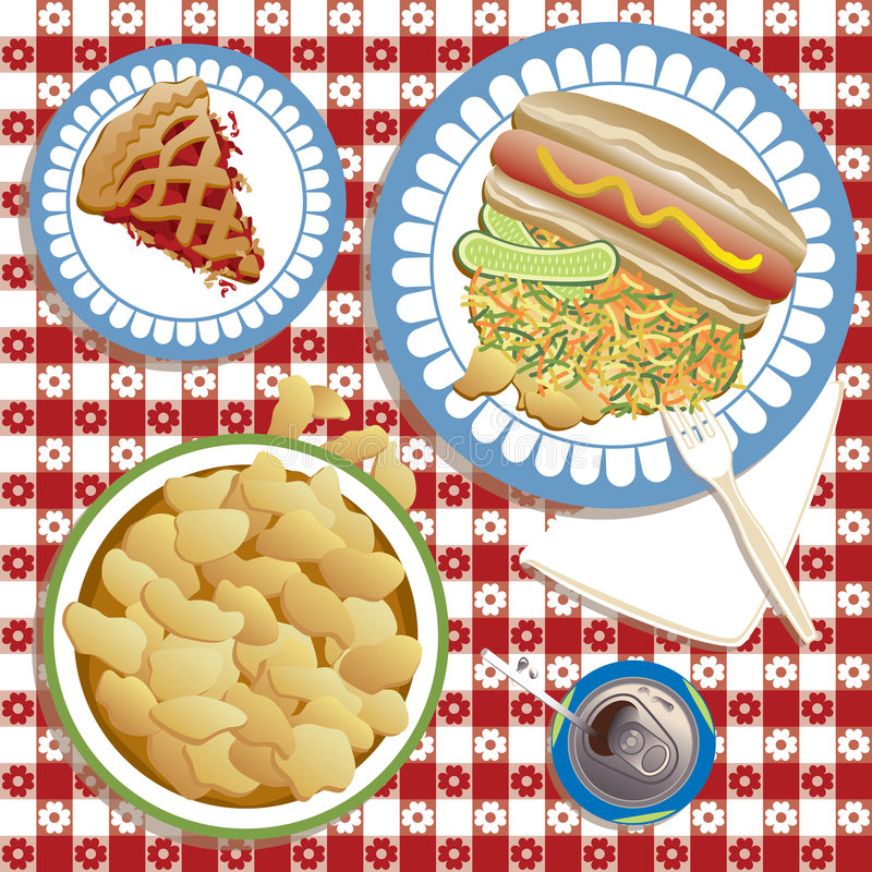 Summer Picnic. An illustration of a typical American picnic or barbeque complete with hot dog and bun, pickles, cole slaw, potato chips, soda, and to finish, a