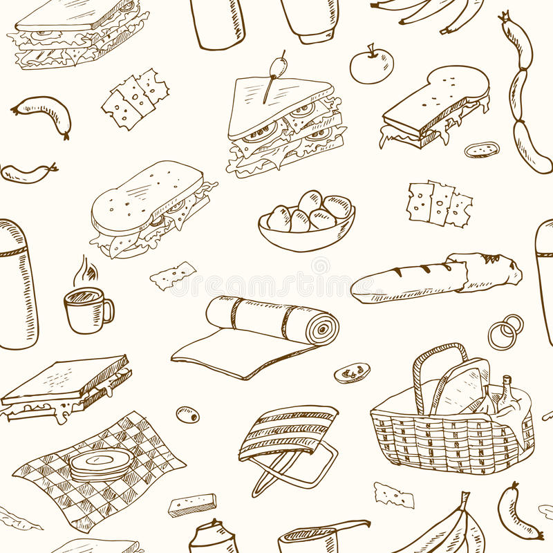 Summer picnic doodle seamless pattern. Various meals, drinks, objects, sport activities. royalty free illustration