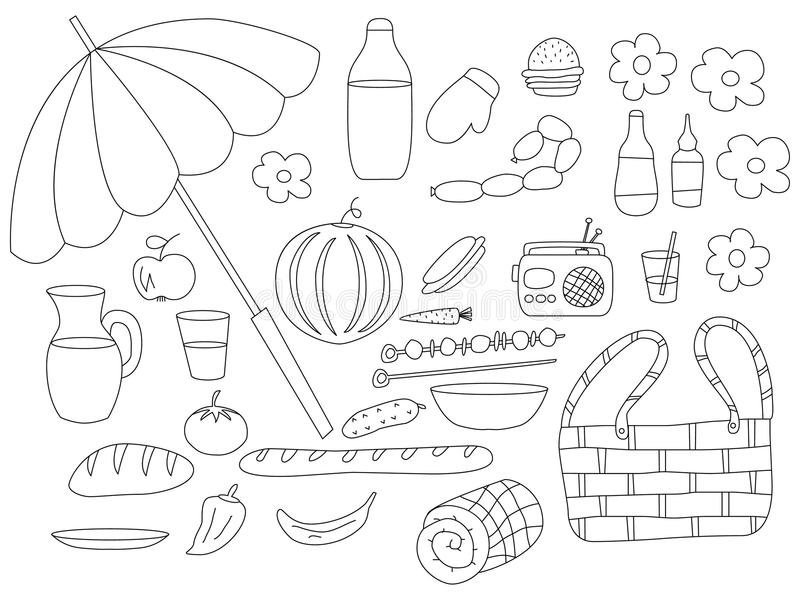 Summer Picnic Doodle Set. Various Meals, Drinks, Objects. Stock ...