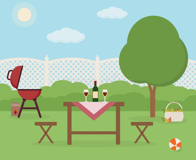 Summer picnic in garden. Resting in a sunny day. royalty free illustration