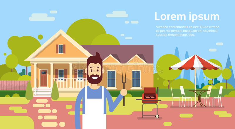 Summer Picnic Man Cooking Outdoors House Barbecue Grill Party stock illustration