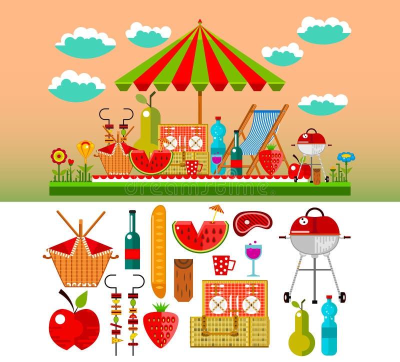 Summer picnic in the meadow vector. Illustration vector illustration