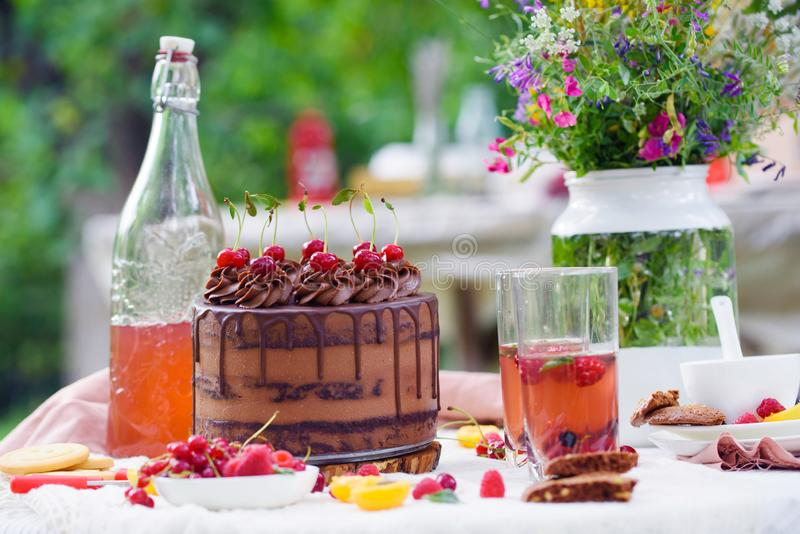 Summer picnic on nature, with a delicious chocolate cake, compote, berries, wild flowers royalty free stock images
