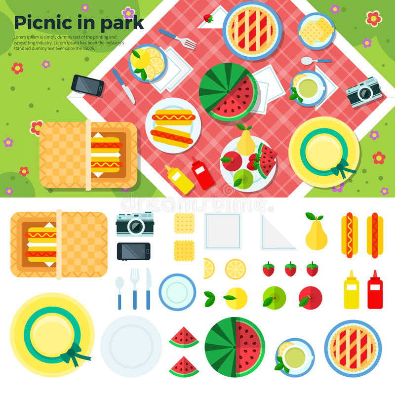 Summer Picnic in Park Banner and Icons stock illustration