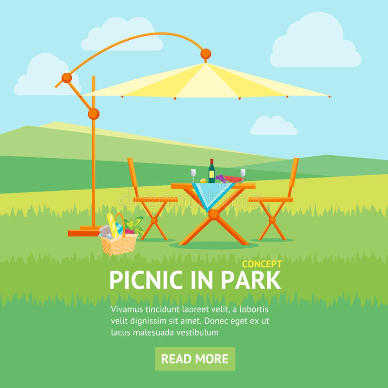 Summer Picnic in Park Banner. Vector. Summer Picnic in Park Banner Flat Design Style. Table, Chairs and Umbrella. Outdoor Recreation. Vector illustration stock illustration