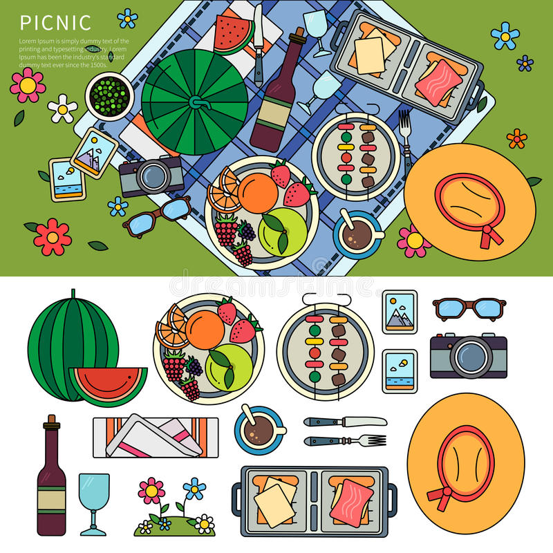 Summer picnic in the park stock illustration