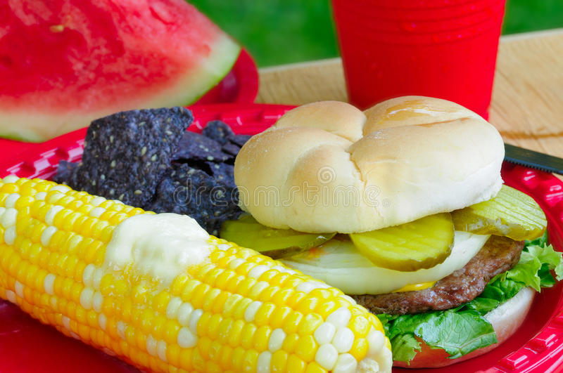 Download Summer picnic plate stock photo. Image of kernels, fare - 20283110