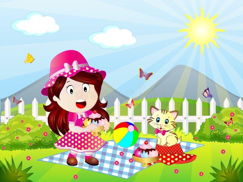 Summer Picnic Spirit Vector Illustration. Summer Picnic Cartoon Vector Illustration with a little girl and a kitten eating ice creams royalty free illustration