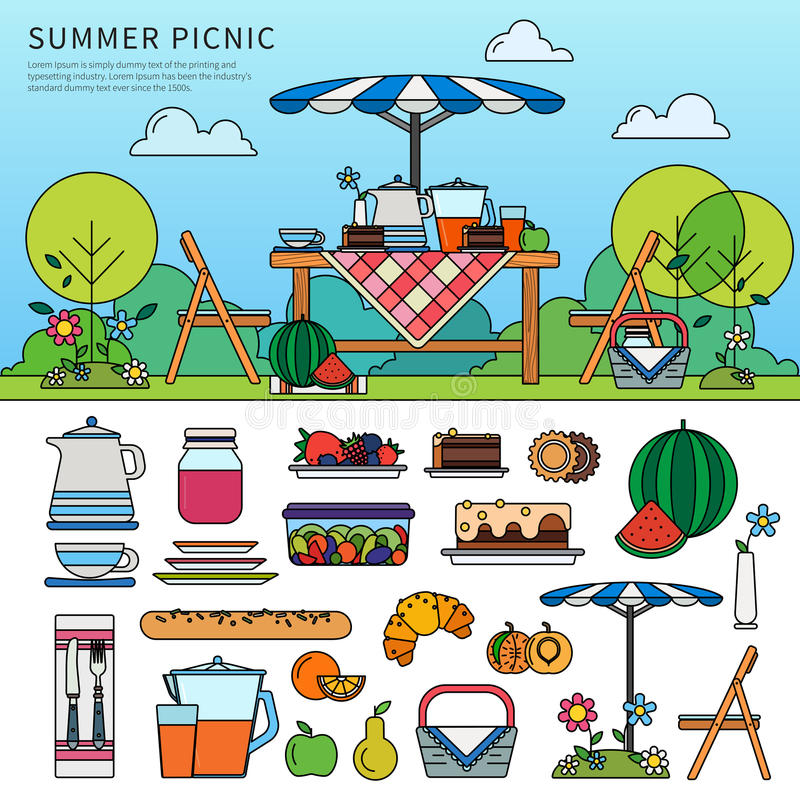 Summer picnic in a sunny day stock illustration