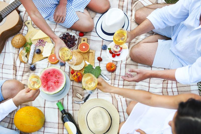 Summer picnic with white wine top view. Toasting people royalty free stock images