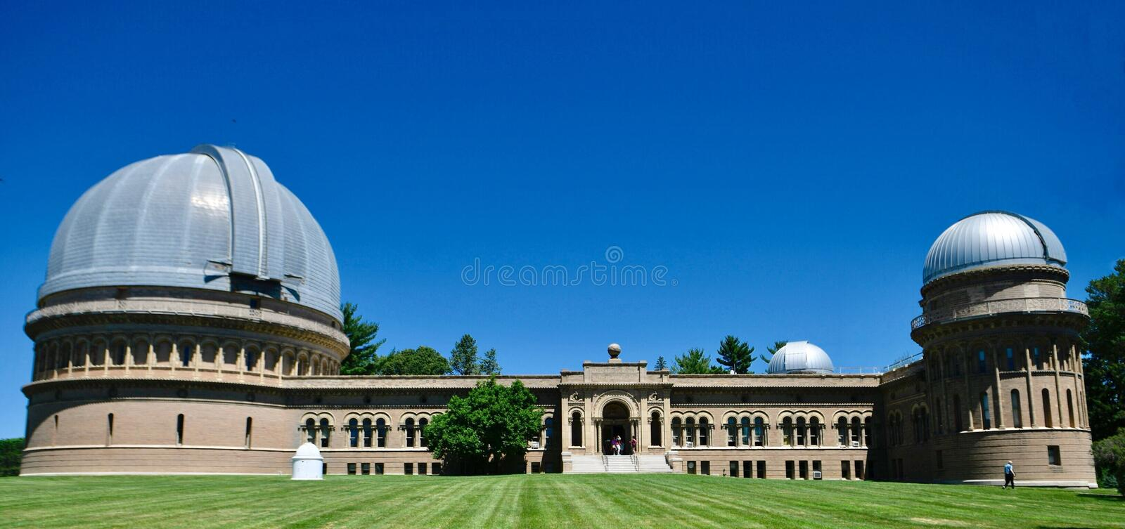 Yerkes Observatory. This is a Summer picture of the historic Yerkes Observatory located in Williams Bay, Wisconsin in Walworth County. This observatory is royalty free stock image