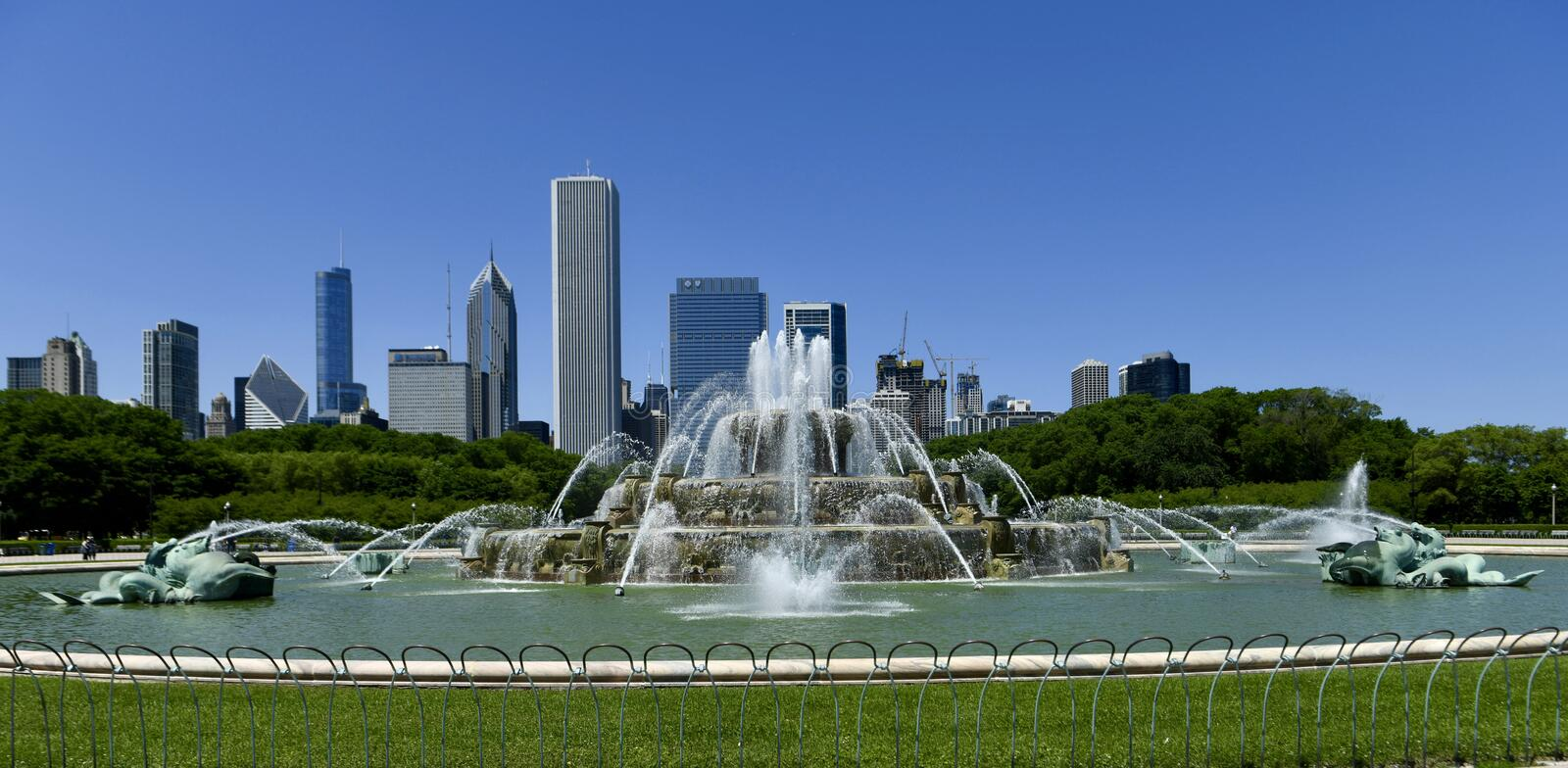 Buckingham Fountain Regular Spray. This is a Summer picture of iconic Buckingham Fountain at regular sprays located in Grant Park in Chicago, Illinois in Cook stock images