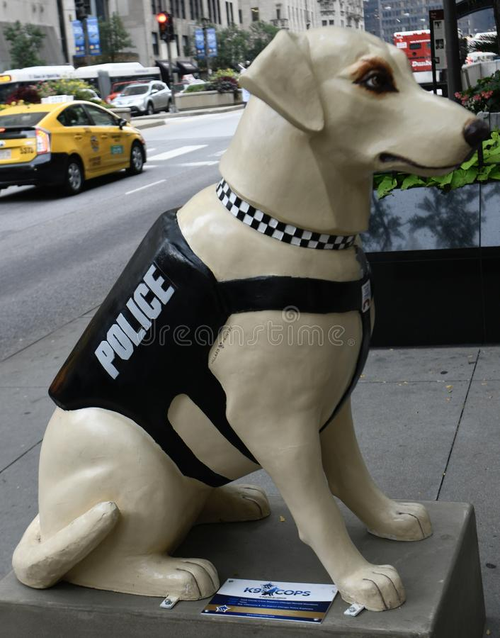 Tippy. This is a Summer picture of a piece of public art titled: Tippy, part of the exhibit K-9 for Cops honoring the K-9 Units dogs of the Chicago Police stock photo