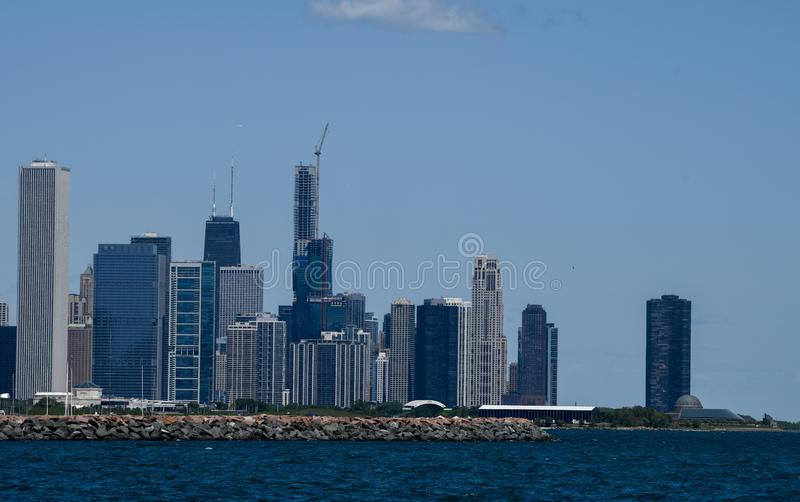 Eastern Skyline. This is a Summer picture of the far eastern skyline of Chicago as seen from Oakwood Street Beach located in Chicago, Illinois in Cook County stock photo