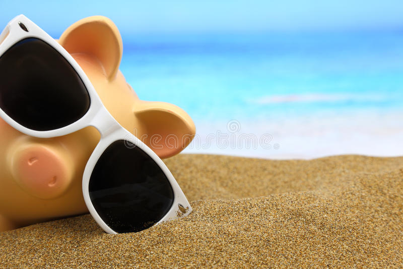 Summer piggy bank stock images