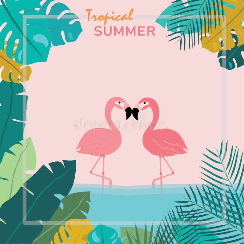 Summer Pink pastel flamingos stand in water and topical leaves as a frame, tropical summer concept. Pink pastel flamingos stand in water and topical leaves as a stock illustration