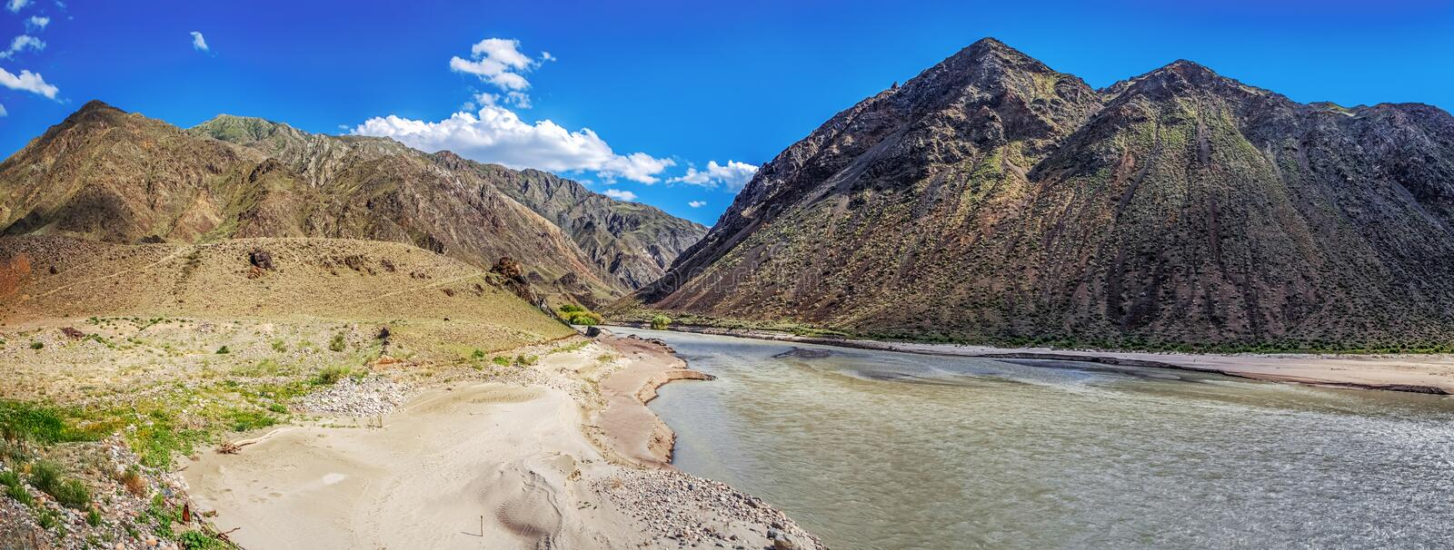 Chilik River on the Assy mountain plateau. Kazakhstan. stock photo
