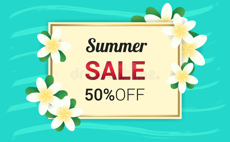 Summer Plumeria Flowers frame or Summer floral royalty free illustration