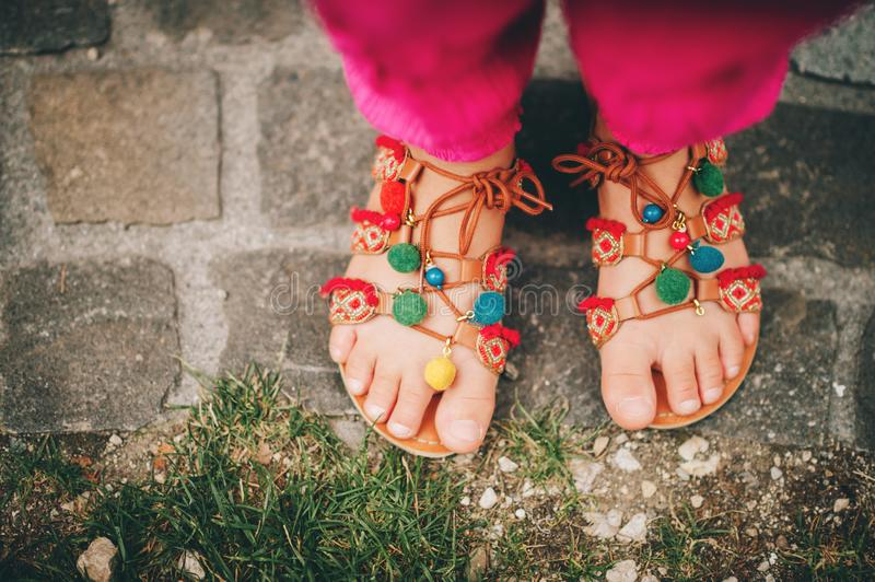 Summer pom pom sandals shoes royalty free stock photo