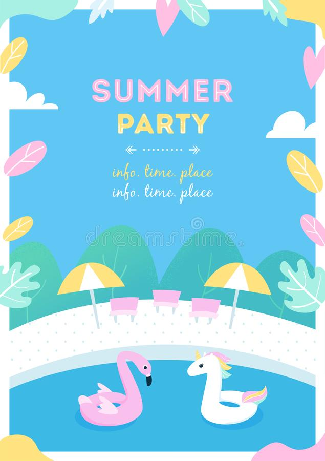 Summer Pool Party or Activity for Kids. Vector Design Poster vector illustration