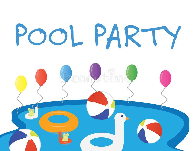 Summer Pool Party Banner With White Background And Colorful Balloons Stock Vector Illustration