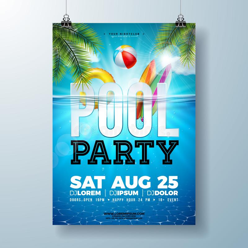 Free Summer Pool Party Poster Design Template With Palm Leaves, Water, Beach Ball And Float On Blue Ocean Landscape Royalty Free Stock Image - 151605346