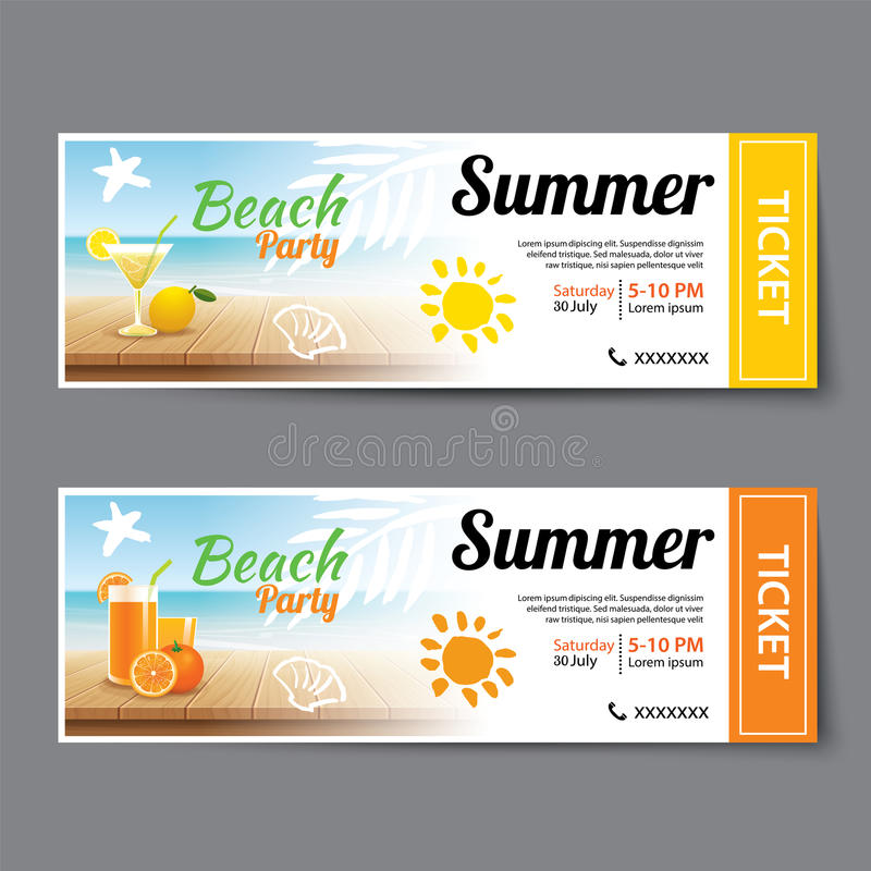 Beautiful Download Summer Pool Party Ticket Template Stock Vector   Illustration:  74953506 Within Party Ticket Template