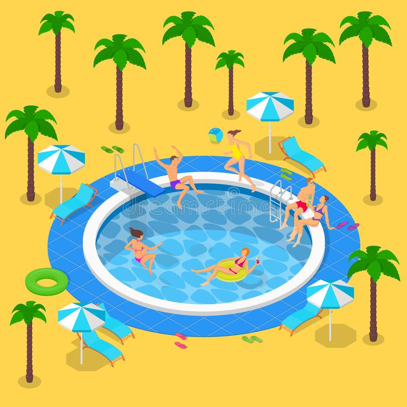 Summer pool party, vector 3d isometric illustration. Summer vacation in resort. People have a rest by the swimming pool vector illustration