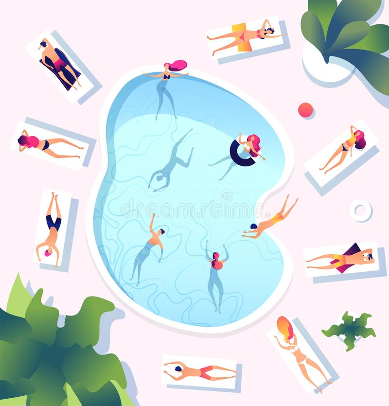 Summer pool. People at swimming pool top view. Persons swim dive relaxing sunbathing women men water games beach party stock illustration