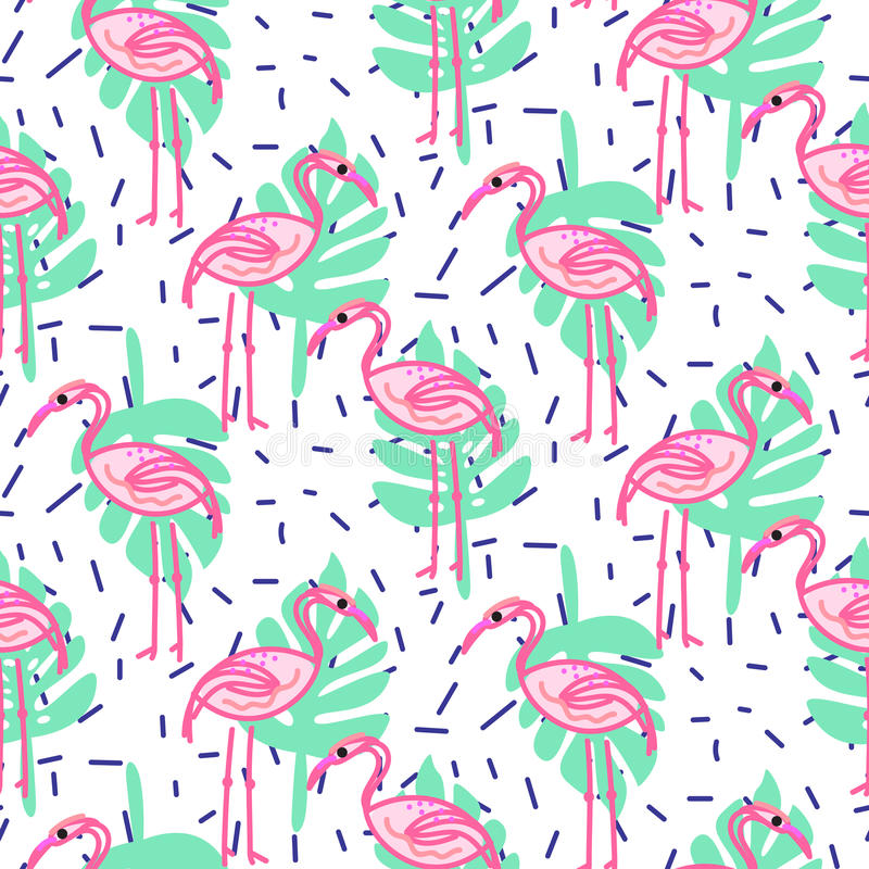 Summer pop art flamingo and palm tropic branches seamless pattern. vector illustration