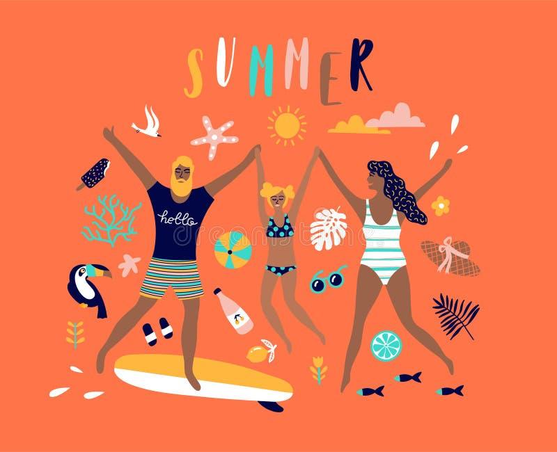 Summer pop art illustration with happy family. stock illustration