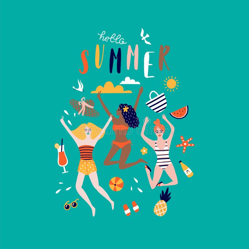 Summer pop art illustration with happy young ladies. Tropical beach illustration stock illustration