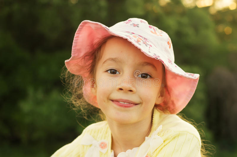 Summer Portrait of Beautiful smiling little girl royalty free stock images