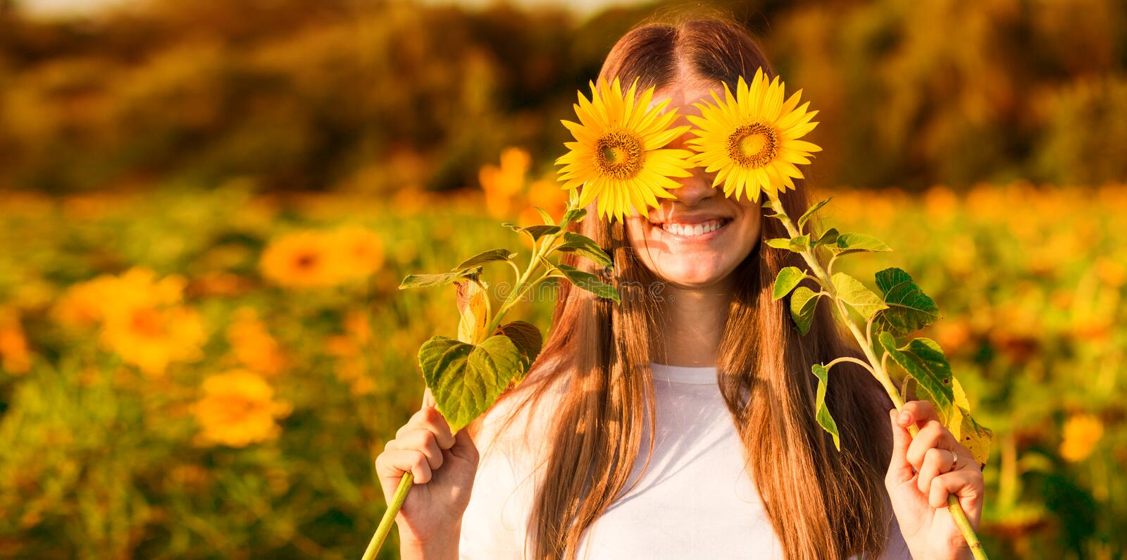 Summer portrait. Happy joyful girl with sunflower enjoying nature and laughing. On sunflower field royalty free stock photos
