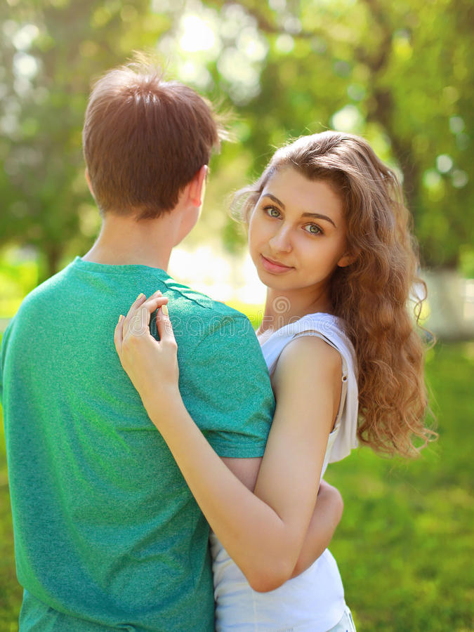 Summer portrait young charming girl and boyfriend royalty free stock image
