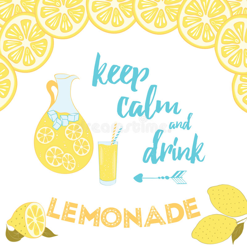 Incroyable Download Summer Positive Sayings. Keep Calm And Drink Lemonade. Stock  Vector   Illustration Of