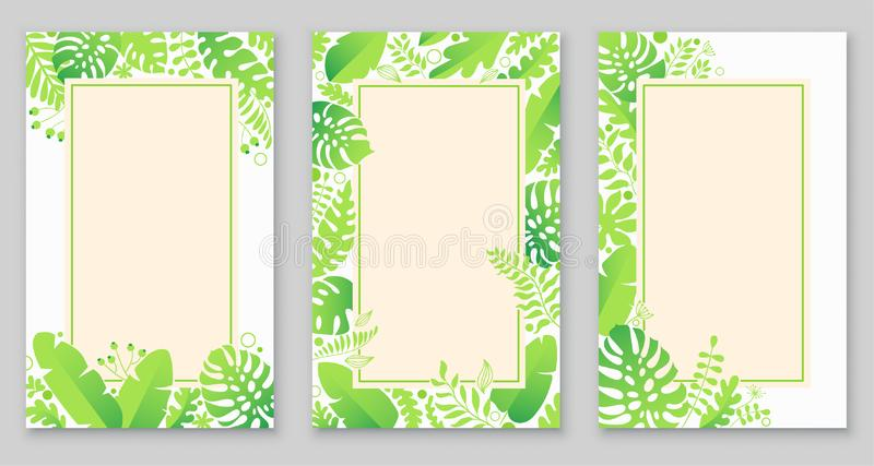 Tropical trendy set of poster, greeting or invitation card, template design, cover, party advertisement, flyer, brochure. royalty free illustration