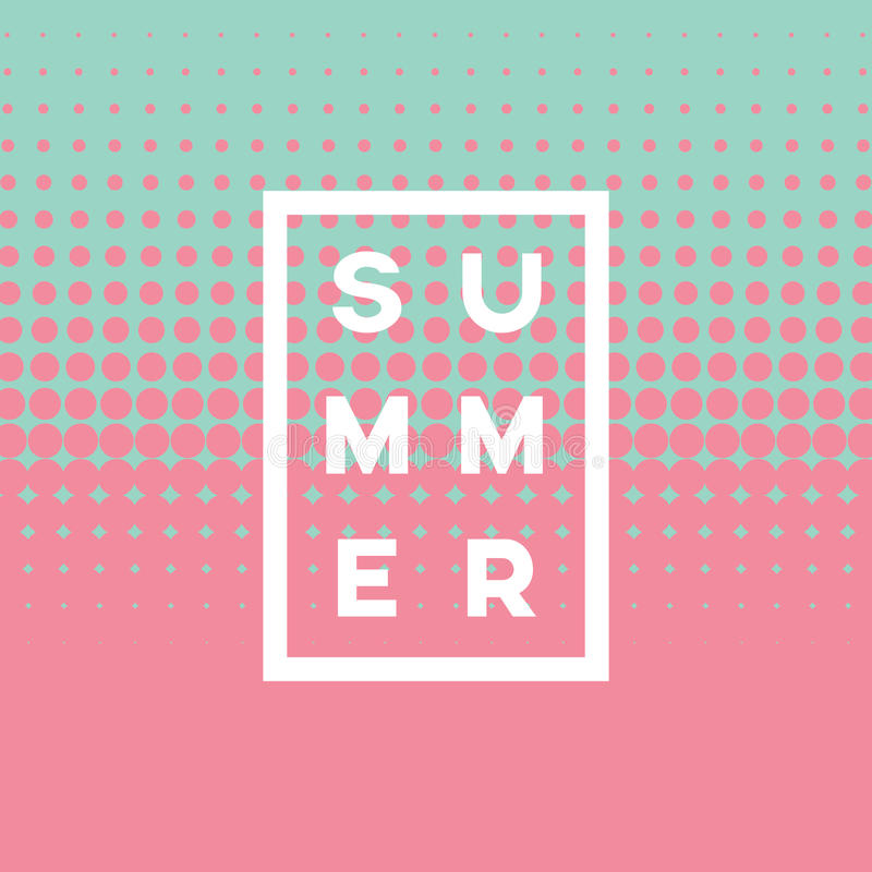 Free Summer Poster Abstract Vector Background With Two Color Halftone And Text. Soft, Gentle Pastel Pink And Blue Colors Royalty Free Stock Photo - 92448735