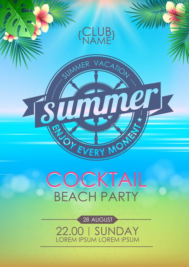 Summer poster cocktail beach party. Lettering poster summer vacation, enjoy enery moment vector illustration