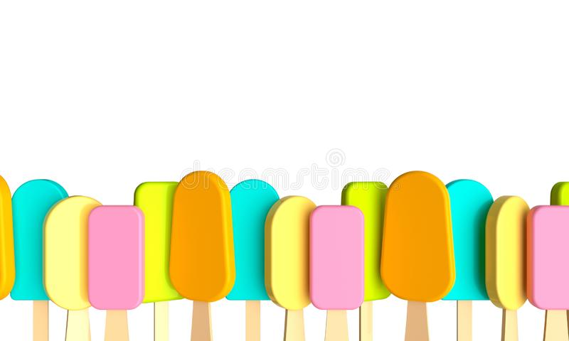 Summer poster colorful ice cream. 3d rendering royalty free stock photo
